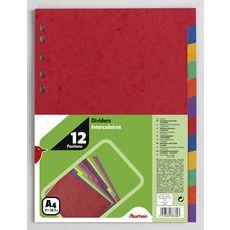 AUCHAN Lot de 12 intercalaires A4 carte lustrée coloris assortis