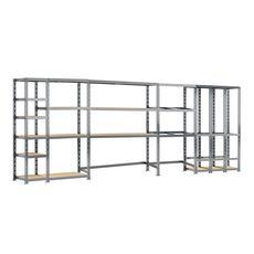 Concept rangement de garage MODULÖ STORAGE SYSTEME EXTENSION 5 étagères 16 plateaux longueur 505 cm