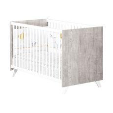 BABY PRICE  Lit bébé sommier réglable  60x120cm SCANDI coloris gris