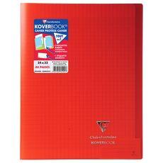 CLAIREFONTAINE Cahier piqué polypro Koverbook 24x32cm 48 pages grands carreaux rouge transparent