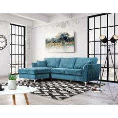 Canapé d'angle gauche MALIA 4 places, confort moelleux, tissu velours (bleu)