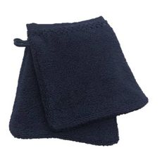 ACTUEL Lot de 2 gants de toilette unis en pur coton qualité Zéro Twist  500 g/m² (Bleu marine )