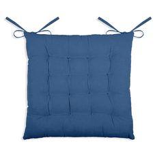 Galette de chaise matelassée unie en coton à nouettes (Bleu)