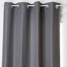 ATMOSPHERA Rideau occultant uni à oeillets métal effet brillant en polyester 140x260cm ELENA (Gris foncé)