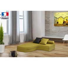 Chauffeuse banquette lit d'angle 2 places OSTO (Vert / Taupe)