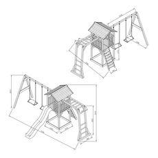 AXI Aire de jeux en bois avec échelle et tobbogan bleu BEACH TOWER