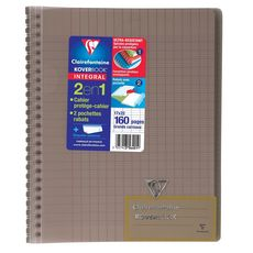 CLAIREFONTAINE  Cahier à spirale Koverbook 17x22cm 160 pages grands carreaux Seyes gris transparent