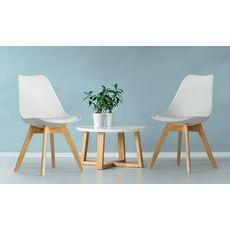Lot de 2 chaises pieds bois massif LYDIA (Blanc)