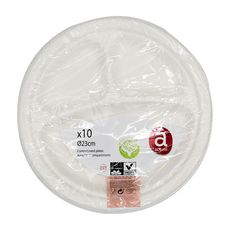 ACTUEL Assiettes en carton blanc à compartiments 30cm x10 10 pièces