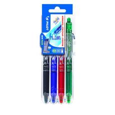 SET TO GO - Lot de 4 FriXion Clicker - Rollers effacables- Noir Bleu Rouge Vert - pointe moyenne