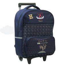 OBERTHUR Sac à dos à roulettes 2 compartiments bleu cheval