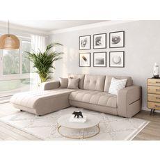 Canapé d'angle gauche convertible CLELIA, 4 places, tissu beige