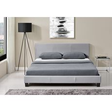 Lit avec tête de lit et sommier à lattes 140x190 cm MARTIN (Gris)