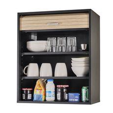 Rangement de cuisine à rideau coloris noir L60 cm - COOKING (Noir/chêne)