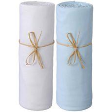 PTIT BASILE Lot x2 draps housse jersey lit berceau cododo, nacelle en coton Bio 50 x 80 cm (Blanc/Bleu ciel)