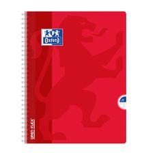 OXFORD Cahier à spirale 24x32cm 180 pages grands carreaux Seyes Open Flex rouge