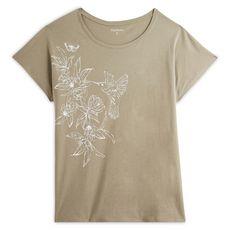 IN EXTENSO T-shirt manches courtes vert imprimé fleuri grande taille femme (Vert kaki)