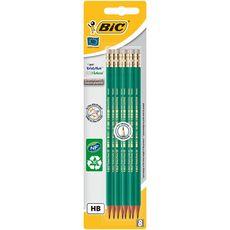 BIC Lot de 8 crayons graphite HB EVOLUTION ORIGINAL avec embout gomme