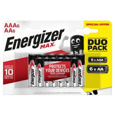 Energizer Piles alcalines lot 6 AA + 6 AAA 6 pièces