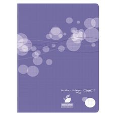 AUCHAN Cahier piqué polypro 24x32cm 140 pages grands carreaux Seyes violet motif ronds