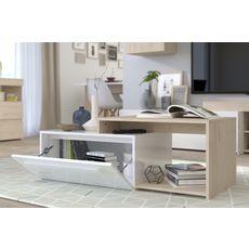 Table basse 1 tiroir L110cm SWEDEN (Chêne / Blanc)