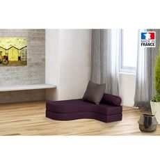 Chauffeuse banquette lit d'angle 1 place OSTO (Prune / Taupe)