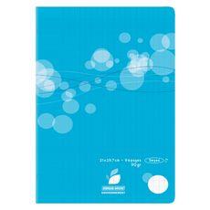 AUCHAN Cahier piqué polypro 21x29,7cm 96 pages grands carreaux Seyes bleu motif ronds