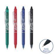 Lot de 4 FriXion Clicker - Rollers effacables- Rétractables -Noir Bleu Rouge Vert - pointe moyenne
