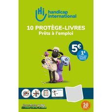 HANDICAP INTERNATIONAL  Lot de 10 protèges-livres + 10 éitiquettes
