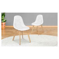 Lot de 2 chaises assise PU pieds bois massif CARLA (Blanc)
