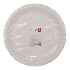 ACTUEL Assiettes en carton blanc 23cm compostables x50 50 pièces