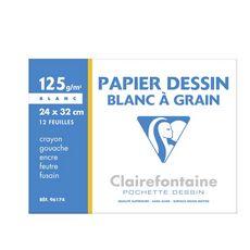 CLAIREFONTAINE Pochette de papier à dessin 12 feuilles 24x32cm 125g/m2 blanc