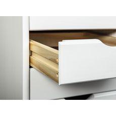 Caisson de bureau en bois massif sur roulettes 6 tiroirs ULLI (Blanc)