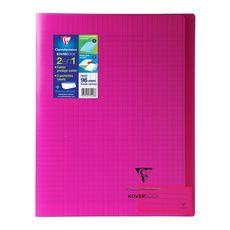 CLAIREFONTAINE Cahier piqué polypro Koverbook 24x32cm 96 pages grands carreaux Seyes rose transparent