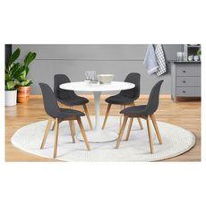 Lot de 4 chaises assise tissu pieds bois massif ORNELLA (Gris anthracite)