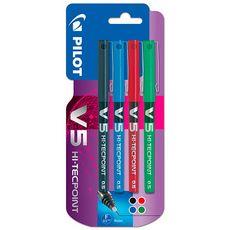 PILOT Lot de 4 stylos roller pointe fine encre liquide bleu/rouge/vert/noir V5 HI-TECPOINT