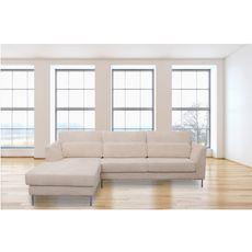 Canapé d'angle 5 places piétement métal tissu velours coloris écru FANY