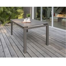 DCB GARDEN Table de jardin 180/240x100cm aluminium SABLE
