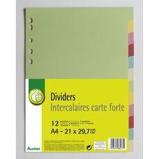 POUCE Lot de 12 intercalaires A4 carte forte coloris assortis