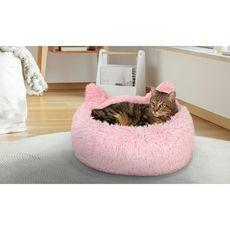 Idomya E. Coussin pour chat avec oreilles Diamètre 40cm rose
