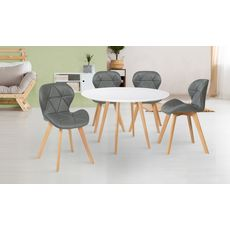Lot de 4 chaises assise PU pieds bois massif NICKY (Gris)