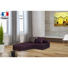 Chauffeuse banquette lit d'angle 2 places OSTO (Prune / Taupe)