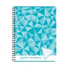 AUCHAN Cahier 17x22cm 100 pages grands carreaux Seyes à spirale bleu motif triangles