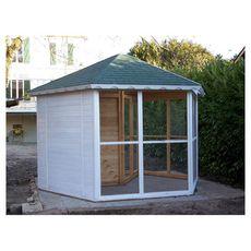 Habita Volière très grande taille / 9,60 m2 / sas d'entrée / 8-15 oiseaux / toit bitumé