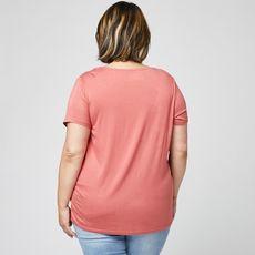 IN EXTENSO T-shirt manches courtes rose col v en dentelle grande taille femme (Rose foncé)