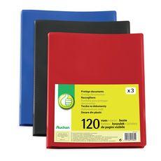 POUCE  Lot de 3 portes-vues A4 120 vues coloris assortis