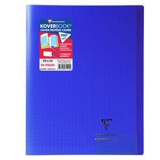 CLAIREFONTAINE Cahier piqué polypro Koverbook 24x32cm 96 pages grands carreaux Seyes bleu marine transparent