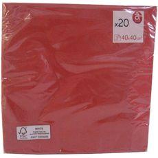 Serviette de table jetable unie rouge 3 plis 40x40cm x20
