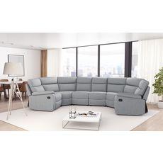 Canapé panoramique relax électrique 6 places HELENE tissu gris clair
