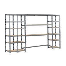 Concept rangement de garage MODULÖ STORAGE SYSTEME EXTENSION 4 étagères 21 plateaux longueur 300 cm